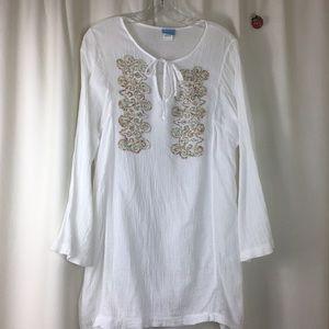 Dotti, 100% Cotton, white coverup, Size L, GUC.